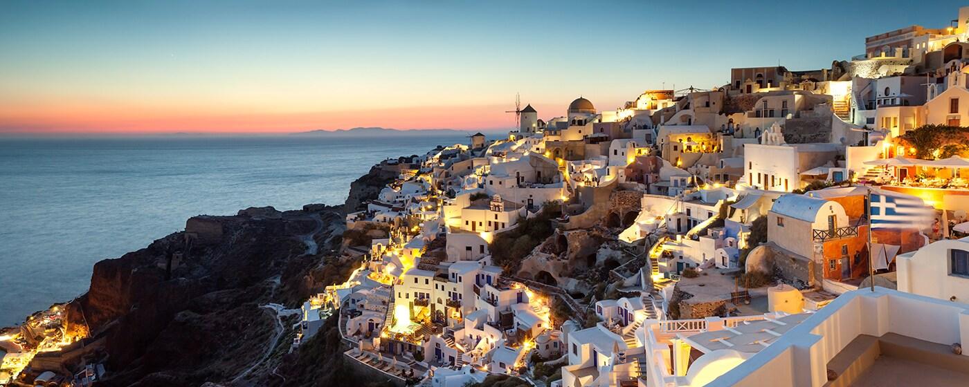 Panoramabild von griechischen Insel Santorini