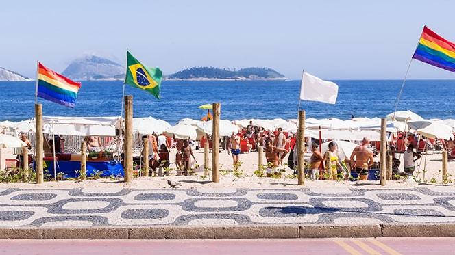 Gay Travel Rio de Janeiro: rainbow flags on Rio's beaches