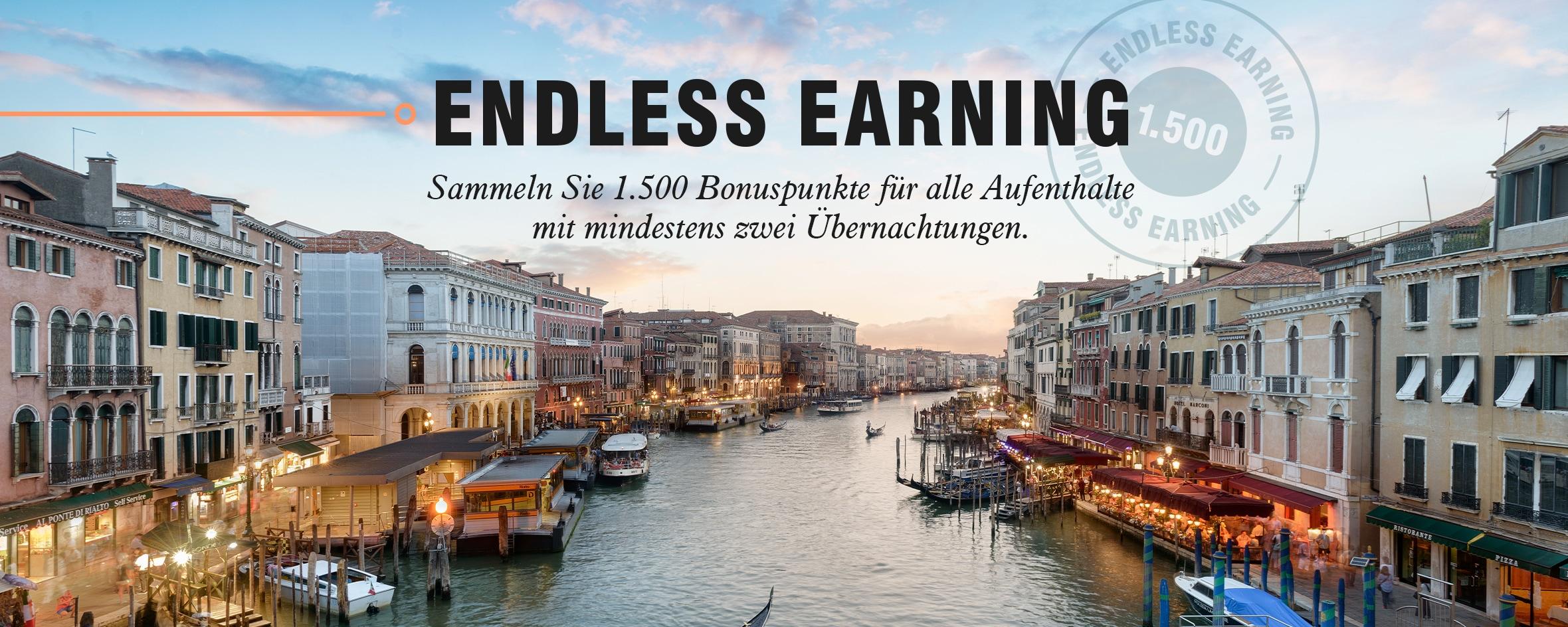 Endless Earning. Sammeln Sie 1.500 Bonuspunkte für alle Aufenthalte ab zwei Übernachtungen.
