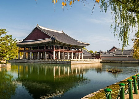 Waterside view of Gyeongbokgung Palace