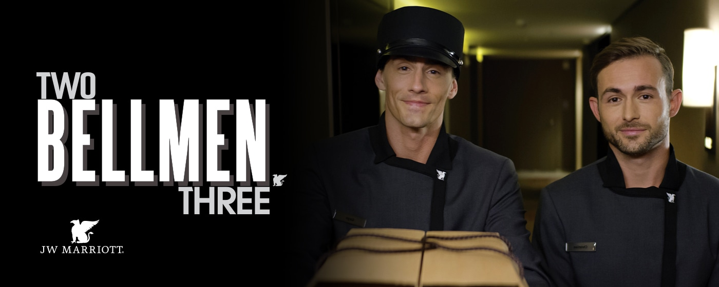 Two Bellmen Three logo + bellmen delivering package