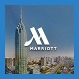 Downtown skyline formed from skyscrapers, opens the Marriott brand page