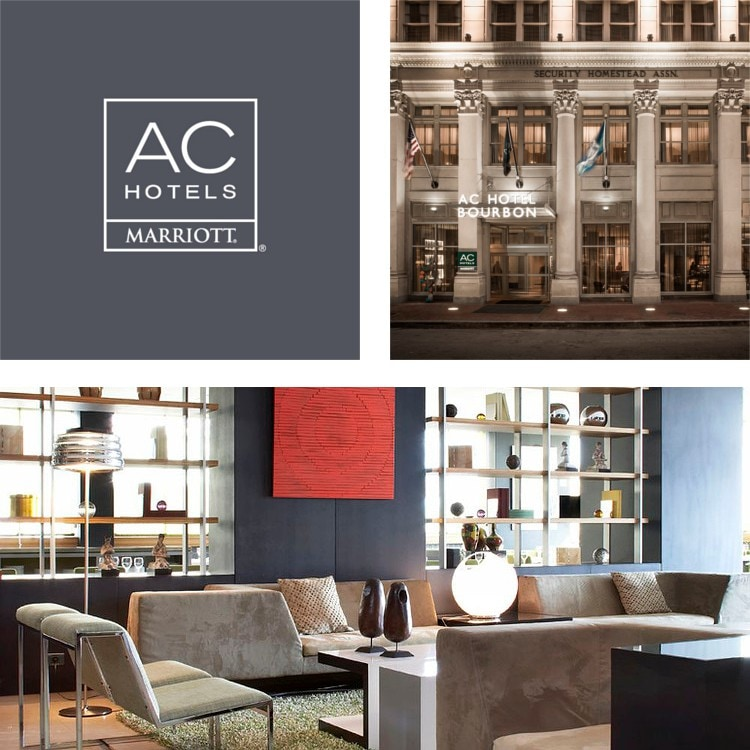 Montage Of A Lobby Seating And Bookshelves Ac Hotels Logo Exterior Hotel Entrance At