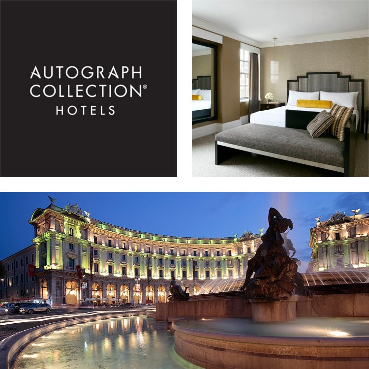 Collage di camera matrimoniale, esterno suggestivo di hotel, logo Autograph Collection Hotels