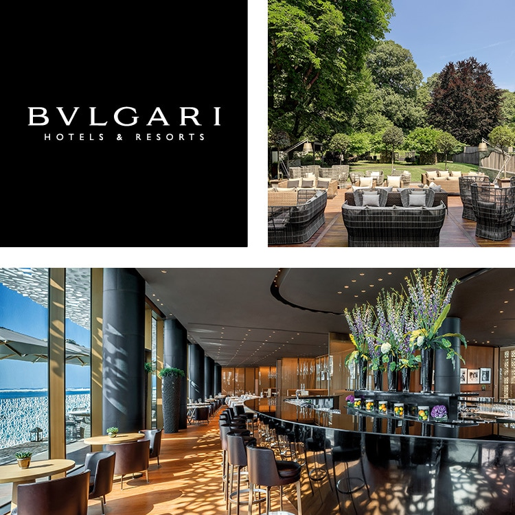 Collage di logo BULGARI Hotels & Resorts, esterno dell'hotel di notte, piscina e oceano di notte