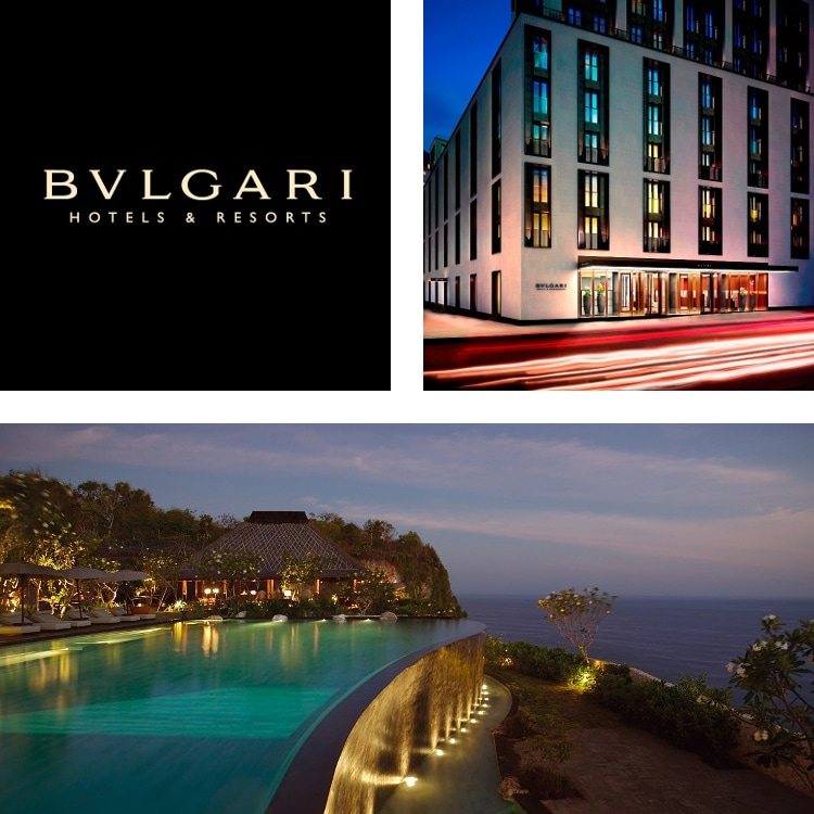 Montage of BULGARI Hotels & Resorts logo, hotel exterior at night, infinity pool and ocean at night
