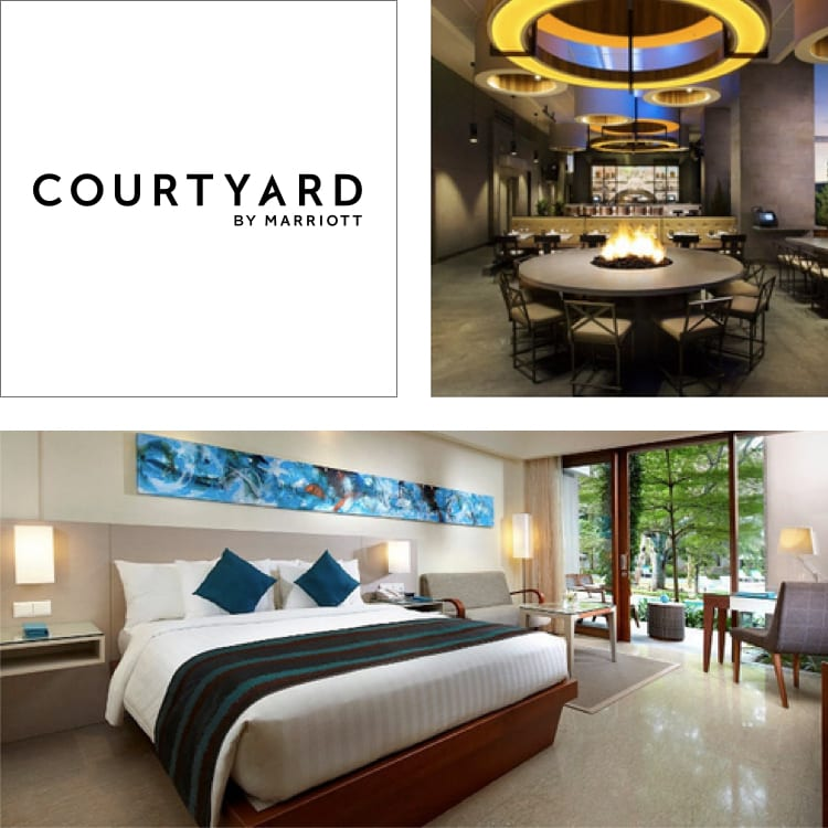 Bar im Courtyard San Diego Gaslamp Convention Center und Zimmer im Marriott Bali Nusa Dua