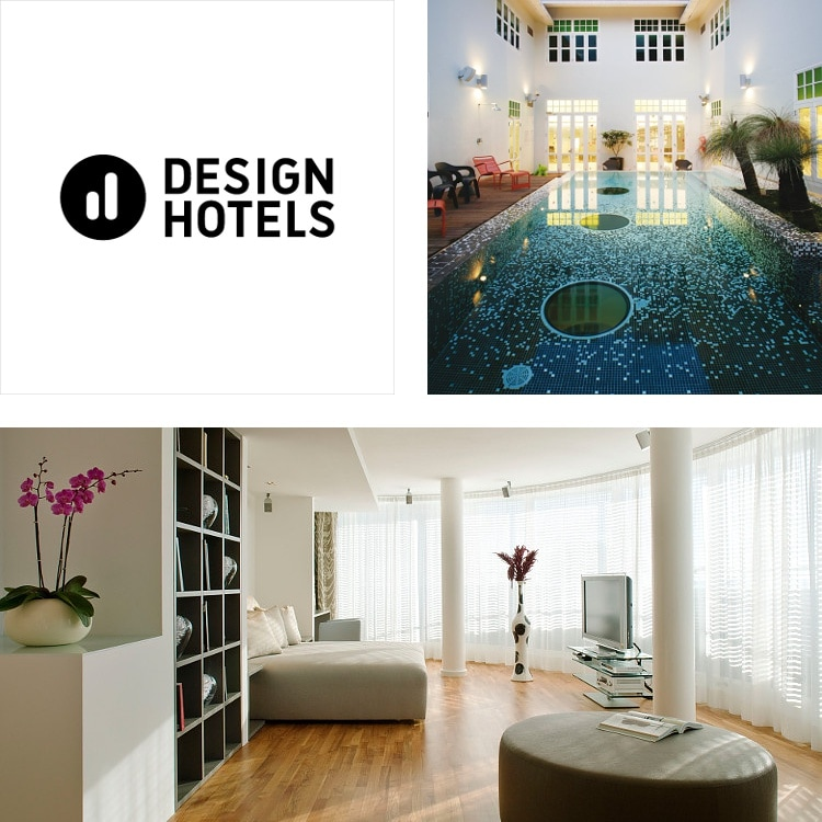 Montage of large, contemporary guest room with window wall, mosaic indoor pool, Design Hotels logo