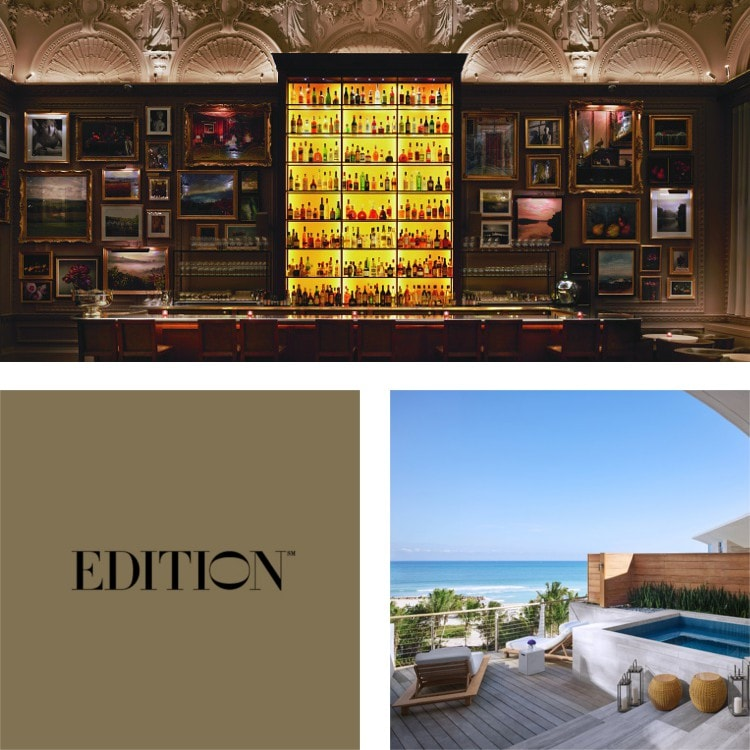 Montage of gallery wall with floor-to-ceiling backlit bar, a pool overlooking the sea, EDITION logo