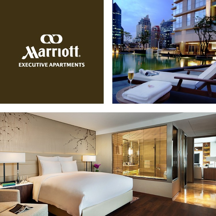 Montage of urban pool at night, Marriott Executive Apartments logo, chic king room with seating