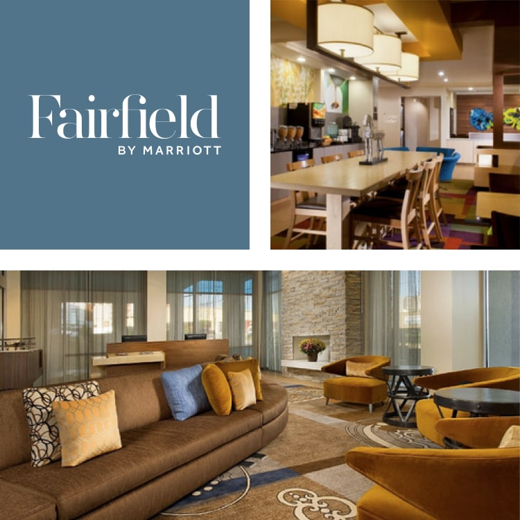 Montage of a communal table in breakfast lounge, Fairfield Inn & Suites logo, lobby seating area