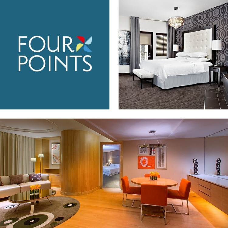 Montage of suite dining and seating areas, guest room with padded headboard, Four Points logo