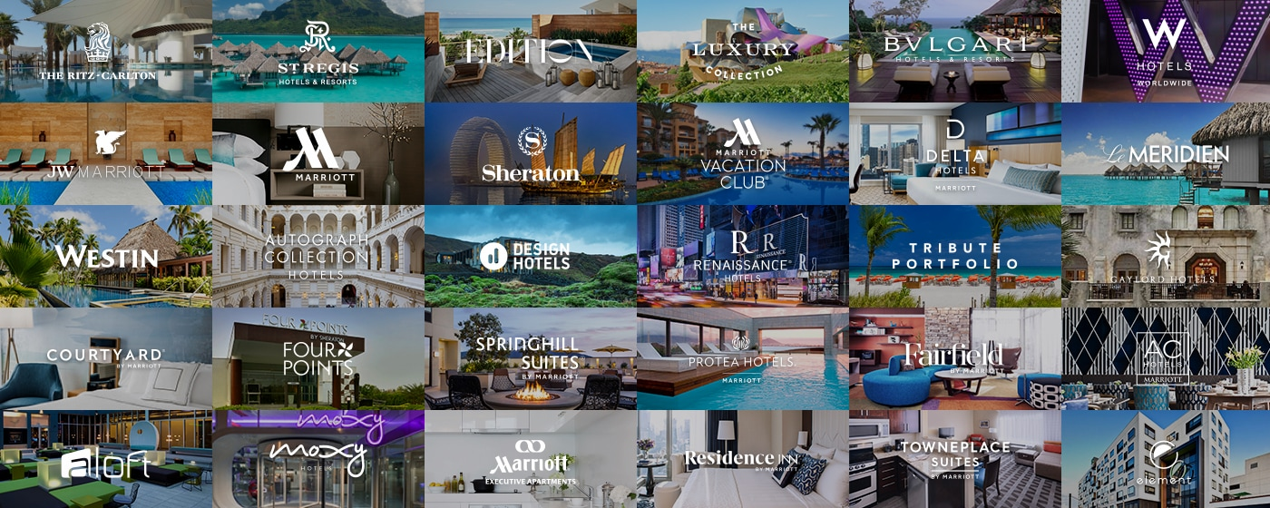 Montage of Marriott's 30 hotel images with logos