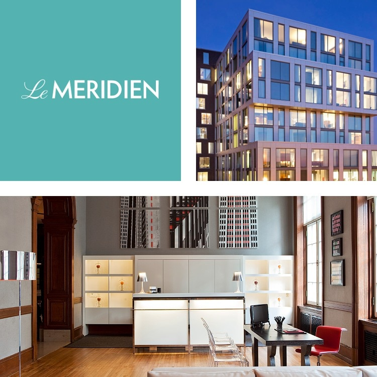 Montage of windows forming a hotel exterior, a contemporary hotel check-in desk, Le MERIDIEN logo
