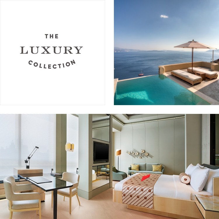 Montage of The Luxury Collection logo, poolside seating with ocean view, contemporary hotel suite