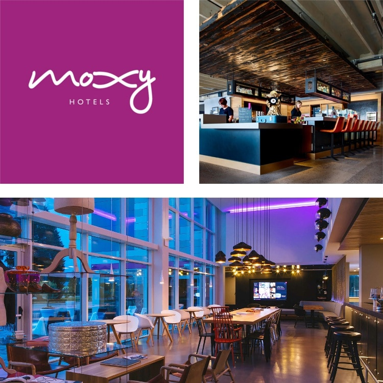 Logotipo de Moxy Hotels, bar con techo de madera y bar con sala