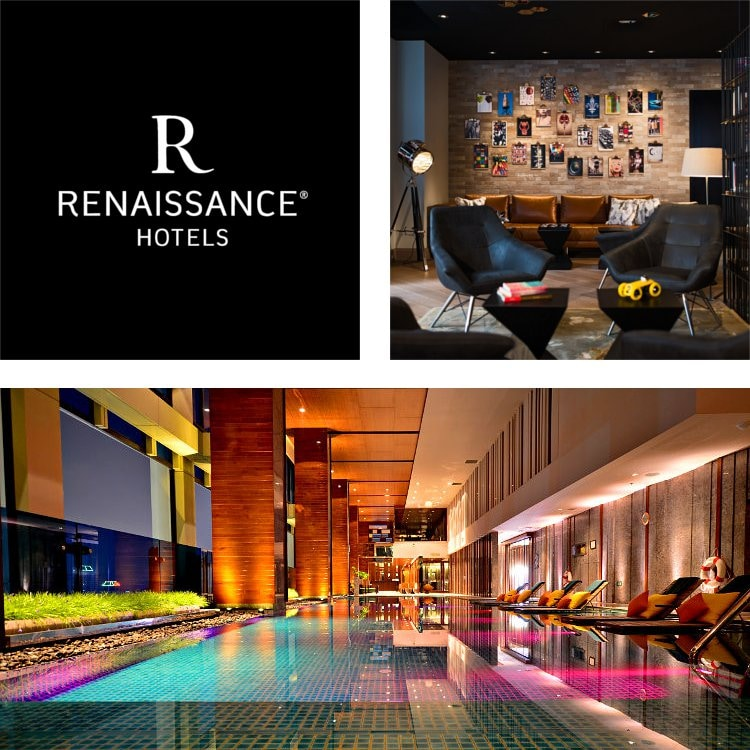 Montage of a lobby gallery wall and seating, indoor pool with lounges, Renaissance Hotels logo