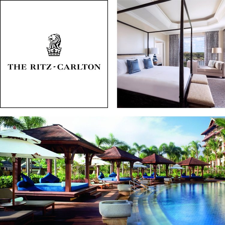Montage of a Ritz-Carlton logo, guest room with modern 4-poster bed and a pool with covered day beds