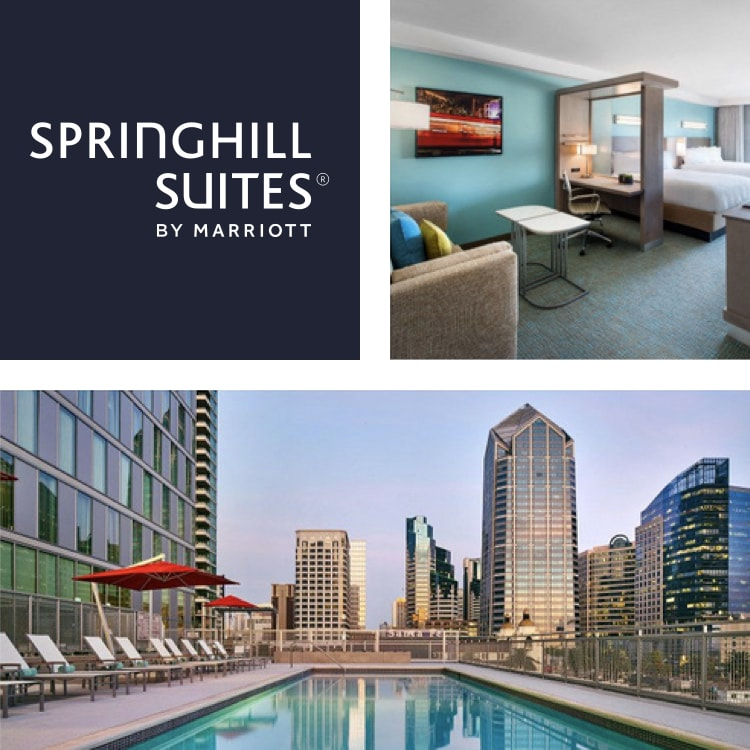 Montage of a hotel suite with desk, bed and, sofa, SpringHill Suites logo, pool with city view