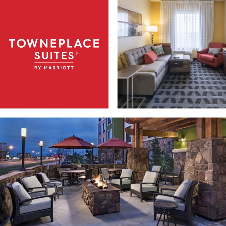 Montage of guest room seating, TownePlace Suites logo, patio with chairs and fire pit at night
