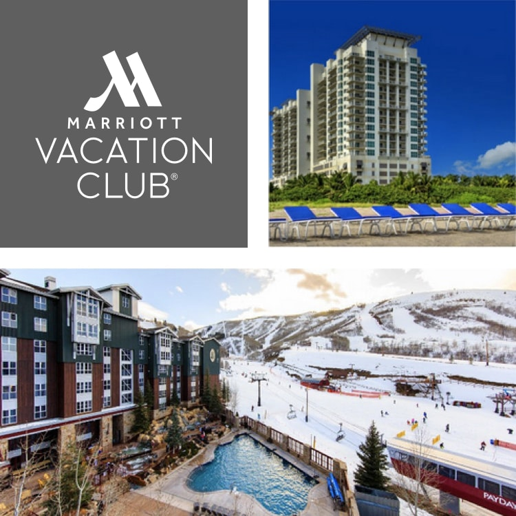 Logotipo de Marriott Vacation Club, tumbonas en la playa y estación de esquí con piscina