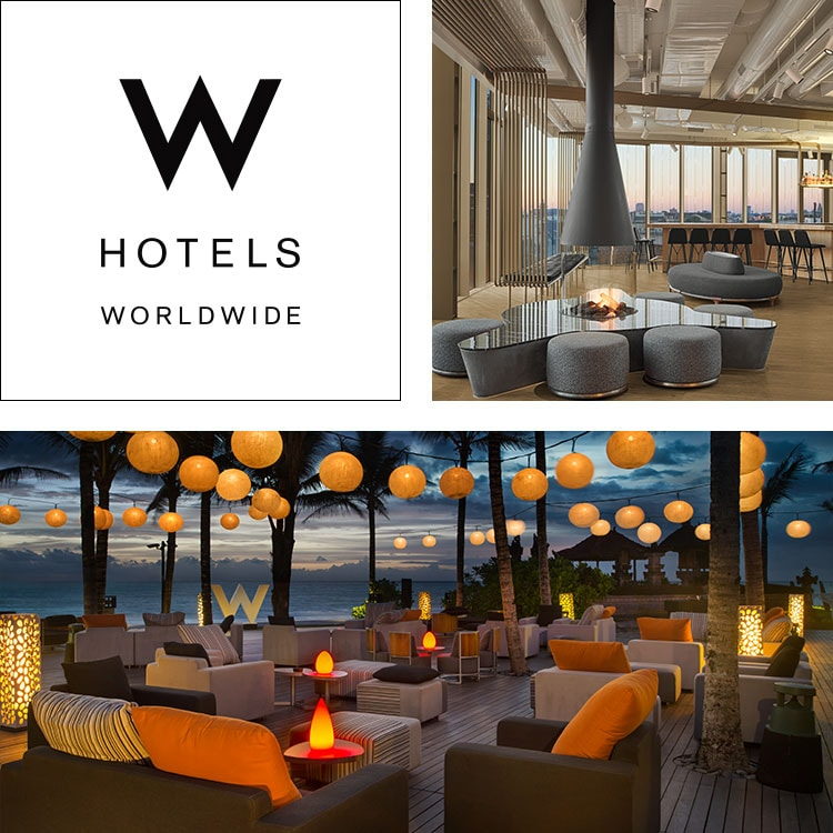 Montage of W Hotels logo, W Amsterdam large common area, W Bali outdoor seating at night