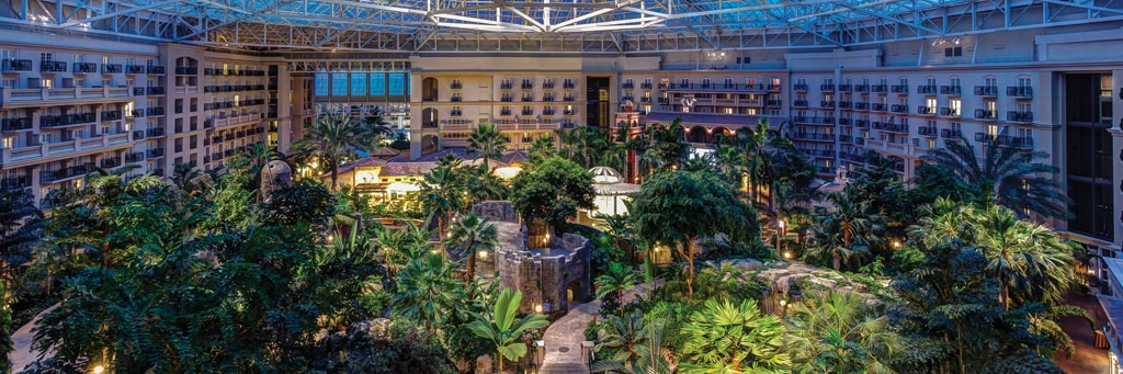 View of Gaylord Palms gardens in atrium