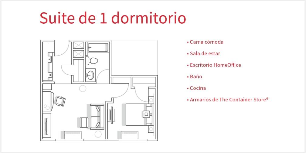 Estancias de larga duraci n planos y comodidades for Plano habitacion online