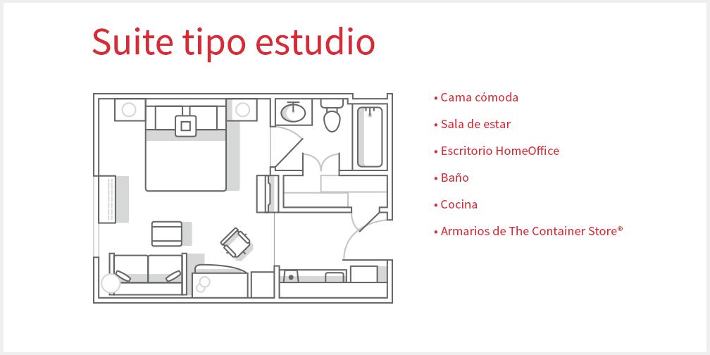 Plano de la suite tipo estudio