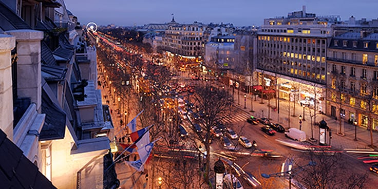 Aerial view of Avenue Champs Elysees at night