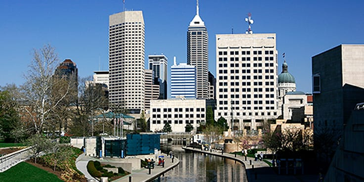 Indianapolis skyline and Canal Walk