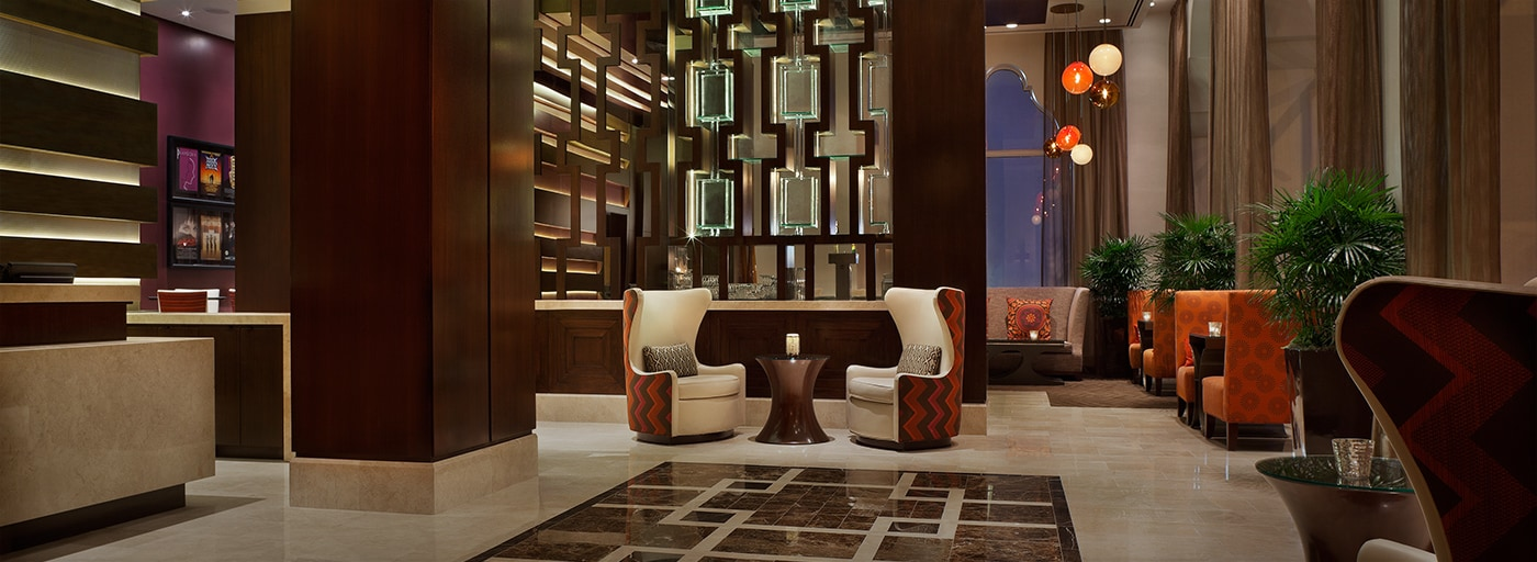 Highly-stylized hotel lobby seating area