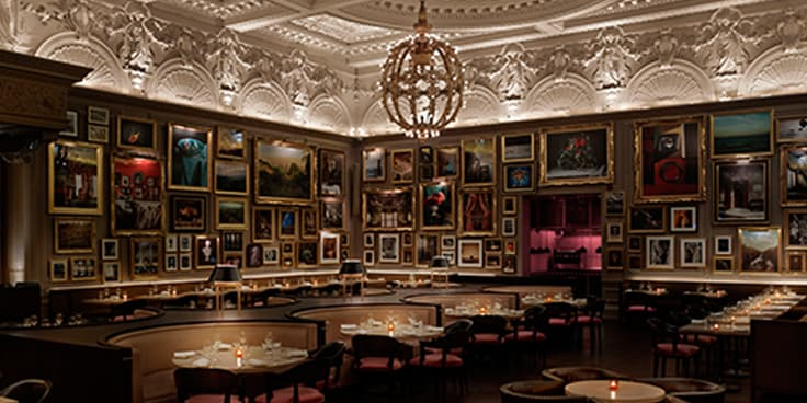 The hotel's stately Berners Tavern seating area