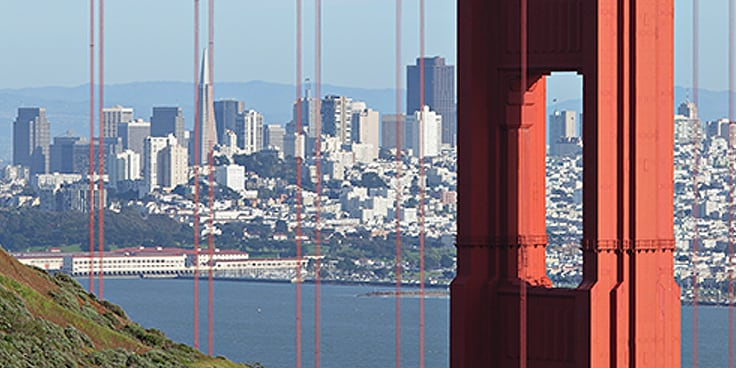 View of San Francisco's skyline from the Golden Gate Bridge