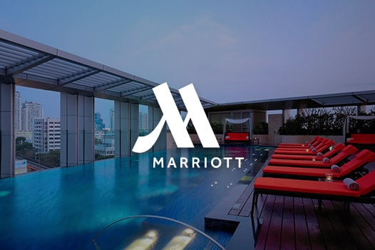 rooftop pool and Marriott Hotels logo