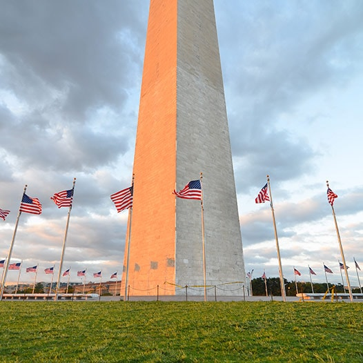 Washington Monument encircled by U.S. flags.