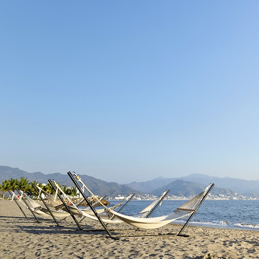 Multiple hammocks on a beach.