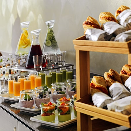 Buffet-style snacks and drinks on a table