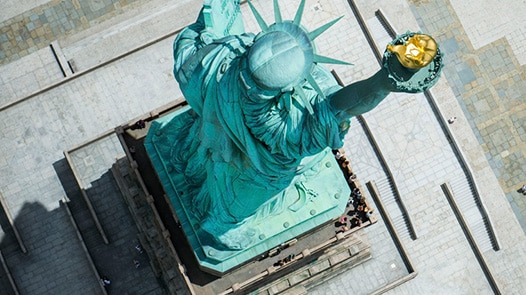 Overhead view of Statue of Liberty