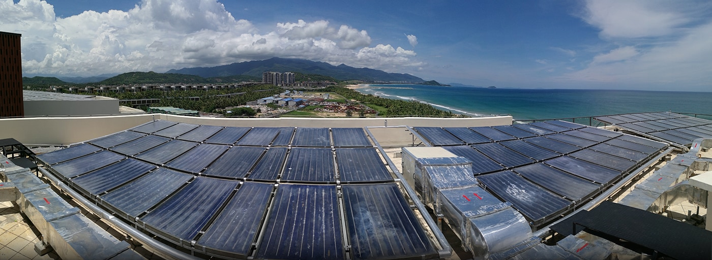A solar panel installation in action at the Xiangshui Bay Marriott Resort & Spa in Xiangshui Bay