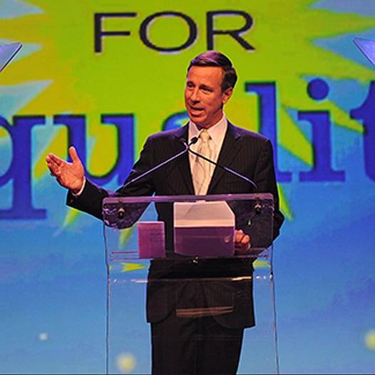 "Marriott CEO Arne Sorensen  speaks at a ""Straight for Equity"" event"