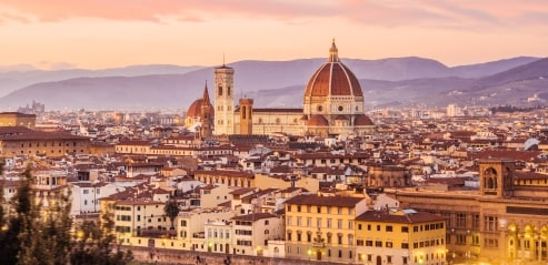 Panoramic view of Florence and the Cattedrale di Santa Maria del Fiore