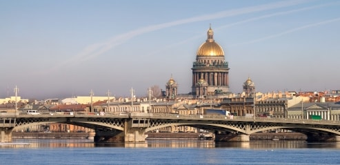 St. Isaac's Cathedral overlooking the Neva River in St. Petersburg