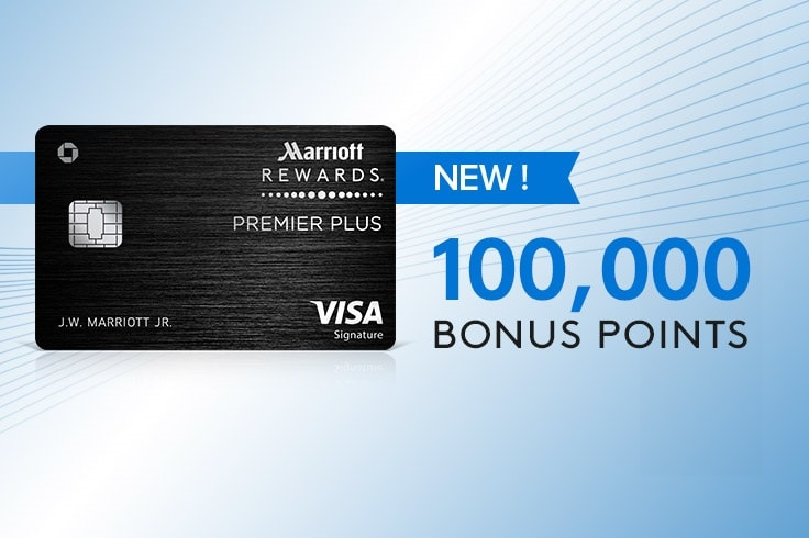 Marriott Rewards Premier Plus credit card image. 100,000 bonus points.  New!