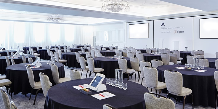 Large conference room setup in cabaret style