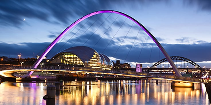 Arch Bridge in central Newcastle upon Tyne at dusk