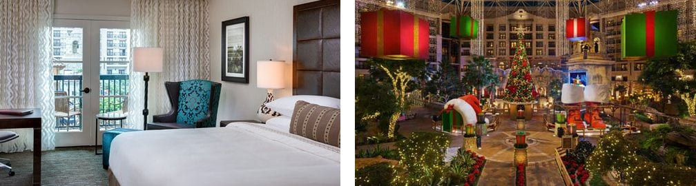 Atrium Room plus Christmas tree and holiday décor in Gaylord Texan's atrium
