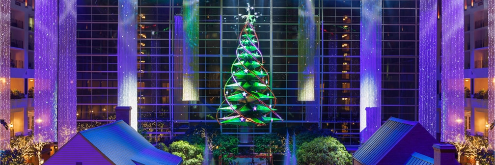 Gaylord National Resort Atrium decorated for Christmas