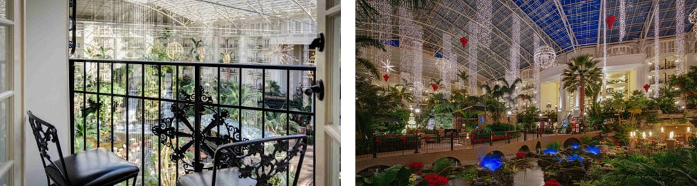 Atrium Room plus holiday décor in Gaylord Opryland's Cascades Atrium