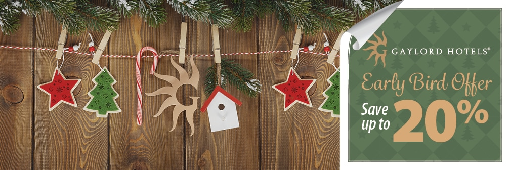 Ornaments on wood paneling with Gaylord Hotels logo - Save up to 20%